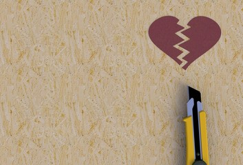 Tear on broken heart with knife on wooden background, 3D rendering