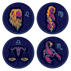 Zodiac Signs. Leo, Virgo, Libra, Scorpio.