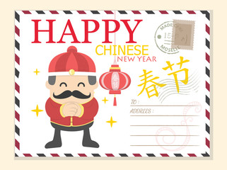 Template Happy Chinese New year postcard background