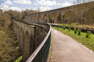 Chirk Aqueduct carrying the Llangollen branch of the Shropshire Union canal built in 1805 by Thomas Telford and railway viaduct on the border of England and Wales