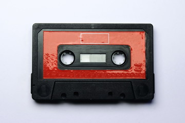 Red audio cassette ( compact cassette )