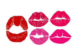 Kiss icons. Kiss print. Lips pattern. Lipstick kiss patterns. Vector lips symbols.