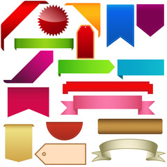 Set of web ribbons, labels and tags