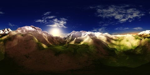 HDRI. Environment map. Mountains under the sky with the sun and clouds