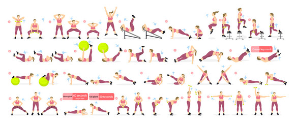 Exercises set for fat girl on white background. All fitness workout including yoga, stretching, weights and more.