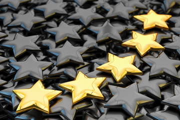 Quality rating, performance review, ranking, evaluation and classification concept, five golden stars shapes on black background