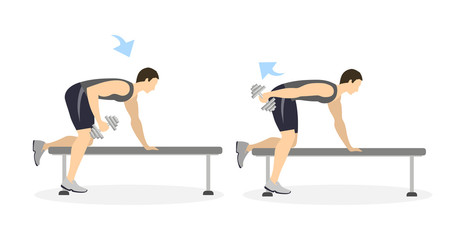 Arm exercise for men on white background. Crossfit and fitness. Exercise with dumbbell on bench. Exercise for men.