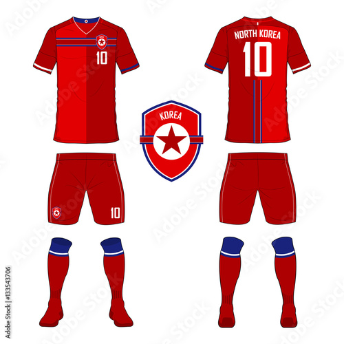 Set of soccer jersey or football kit template for North Korea national football  team. Front and back view soccer uniform. Sport shirt mock up. b0984eba5