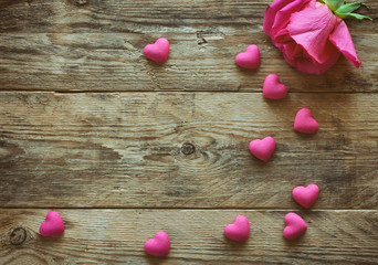 valentine's day, one pink rose, many heart