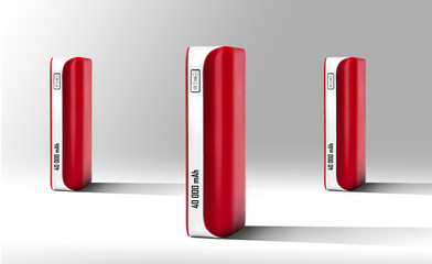 Red Power bank at grey background  isolated