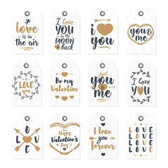 Happy Valentine's day label set with lovely lettering typography congratulations gold style on white background. Vector Illustration