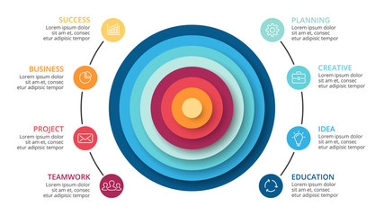 Vector circles abstract pyramid infographic, cycle diagram, graph, presentation chart. Business concept with 8 options, parts, steps, processes.