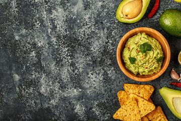 Homemade guacamole with nachos.