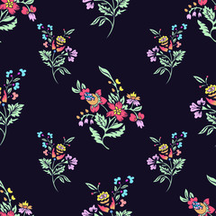 Abstract flowers seamless pattern, floral background. Fantasy bright multicolored  on a dark blue backdrop. For the design of the fabric, wallpaper, wrapper, prints, decoration
