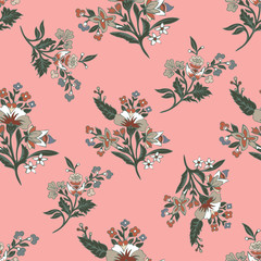 Abstract flowers seamless pattern, floral background. Fantasy multicolored  on a pink backdrop. For the design of the fabric, wallpaper, wrapper, prints, decoration. Vintage vector illustration