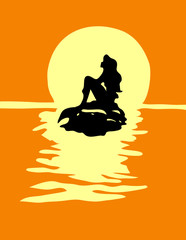 Girl mermaid silhouette with a tail on a rock in orange sea.