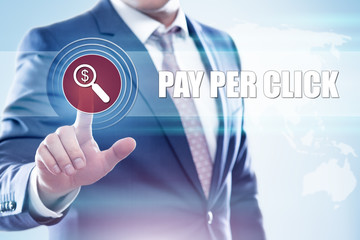Businessman  pressing button on touch screen interface and select  ppc