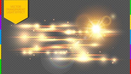 Vector golden special effect. Glowing streaks on transparent background. Beautiful glow light lens flare and spark. Luminous abstract sparkling lined night disco club wallpaper