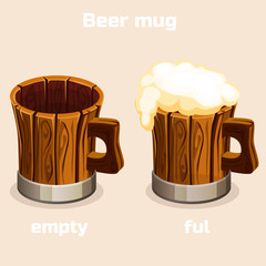 Cartoon old wooden beer mug. Full and empty tankard with beer foam in vector
