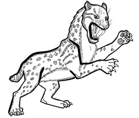 Vector illustration of smilodon prehistoric tiger black and white
