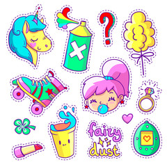 Cool stickers set in 80s-90s pop art comic style. Patch badges and pins with cartoon characters, food and things. Vector crazy doodles with unicorn, teenage girl, roller skate etc.