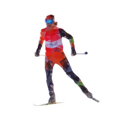 Cross country skiing, woman on skis, abtract polygonal vector si