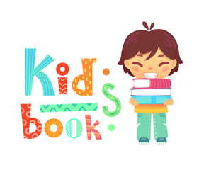Cute happy asian boy standing with pile of books on white background. Vector illustration of kids reading with fun textured lettering.
