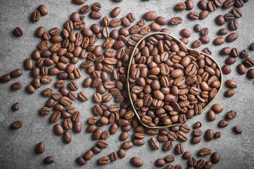 Heart shape with coffee beans.