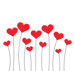 Red hearts growing