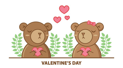 Cute couple bear holding heart isolated on white background.