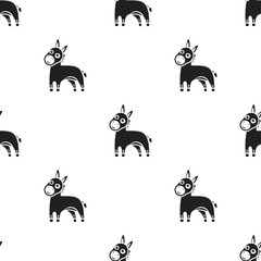 Donkey icon in black style isolated on white background. Animals pattern stock vector illustration.