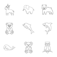 Animals set icons in outline style. Big collection of animals vector symbol stock illustration