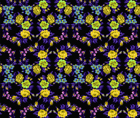 Wallpapers or textile. Color circle  bouquet of flowers (roses, chamomile and cornflowers) on the black background using Ukrainian embroidery elements.Yellow, blue, violet  tones. Seamless. Pixel-art.