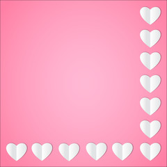 White paper heart on pastel pink background. Vector illustration.