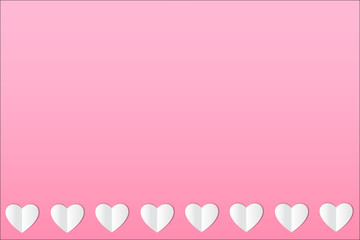 Hearts on pink background. Vector.
