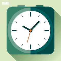 Alarm clock icon in flat style, timer on color background. Vector design element