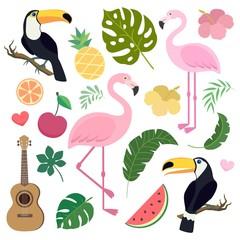 Vector set of tropical elements. Palm leaf, banana leaf, flamingo, toucan birds, ukulele guitar, pineapple, watermelon. Jungle trees.Botanical (floral) illustration. Stickers