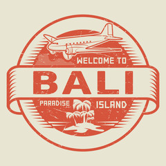 Stamp with the text Welcome to Bali, Paradise island