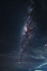 Vertical Milky way galaxy at night.