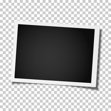 Retro realistic vector photo frame placed on transparen background. Template photo design.