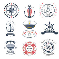 Set of vintage nautical labels, icons and design elements vector.