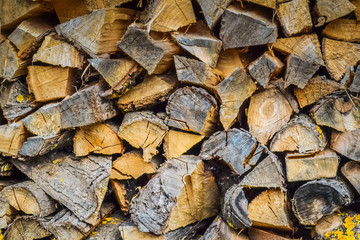 Background of firewood stacked in the cut wood.