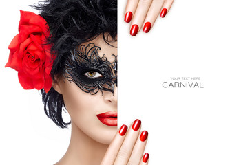 Beauty Fashion Woman with Carnival Mask Makeup. Red Lips and Man