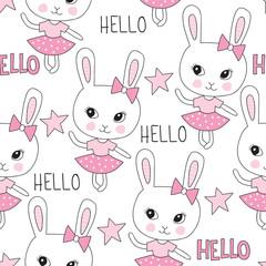 seamless cute bunny pattern vector illustration