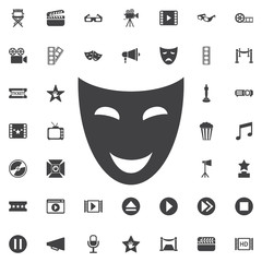 Comedy acting masks flat icon