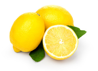Lemons with leaves on a white