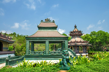 Thai classical architecture on background of awesome nature.