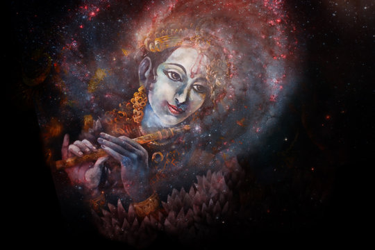 Lord Krishna playing his flute in space, colorful painting collage.