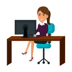 businesswoman working in computer vector illustration design