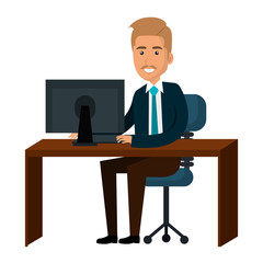businessman working in computer vector illustration design